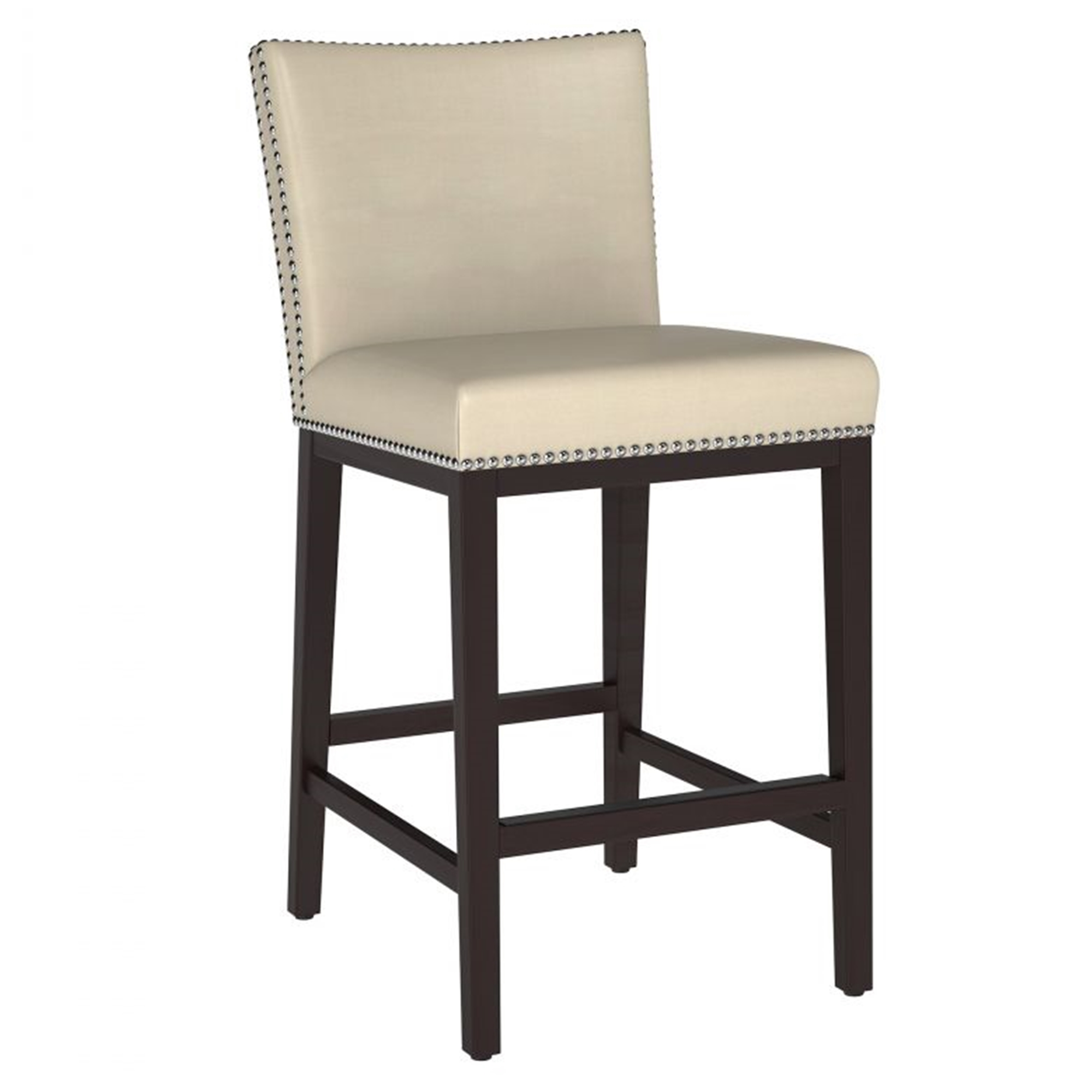 Cream Kitchen Island Bar Counter Stool with Silver Nails