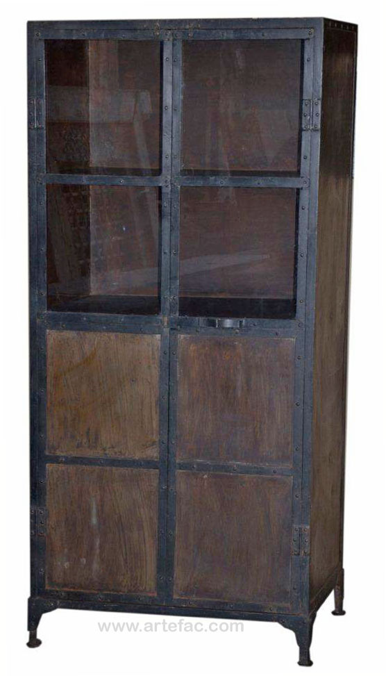 Genial Industrial Vintage Furniture :: ART 011 Industrial Tall Liquor Cabinet    ARTeFAC USA