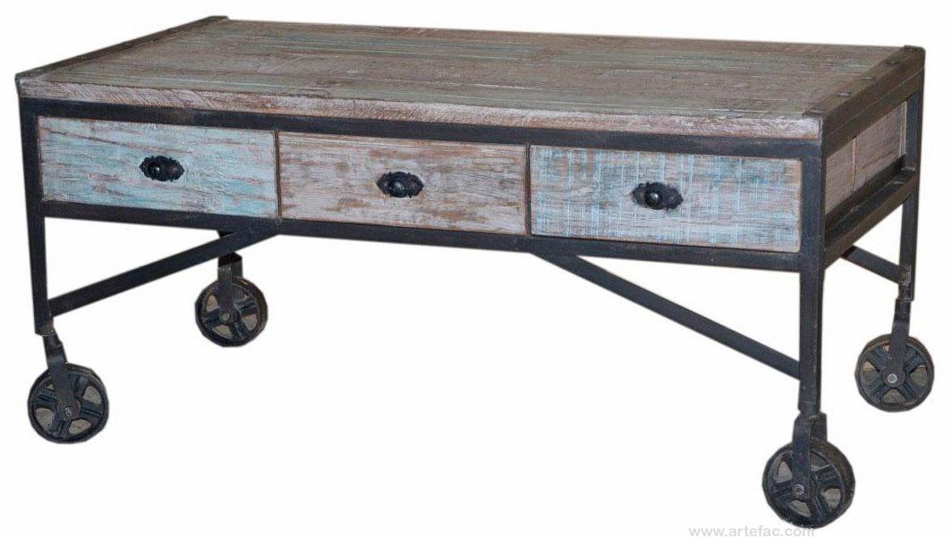 Industrial Vintage Furniture Coffee Table On Wheels Art 0140 Artefac Usa