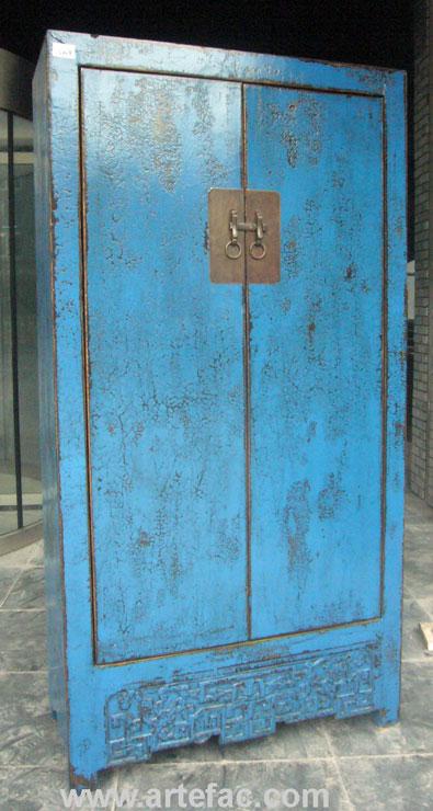 Br V009 Tall Blue Antique Cabinet