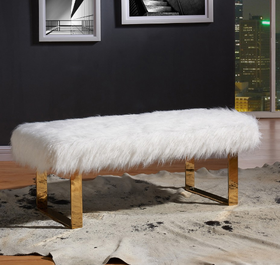 Ottomans Benches Rw 401 266 White Faux Fur Bench