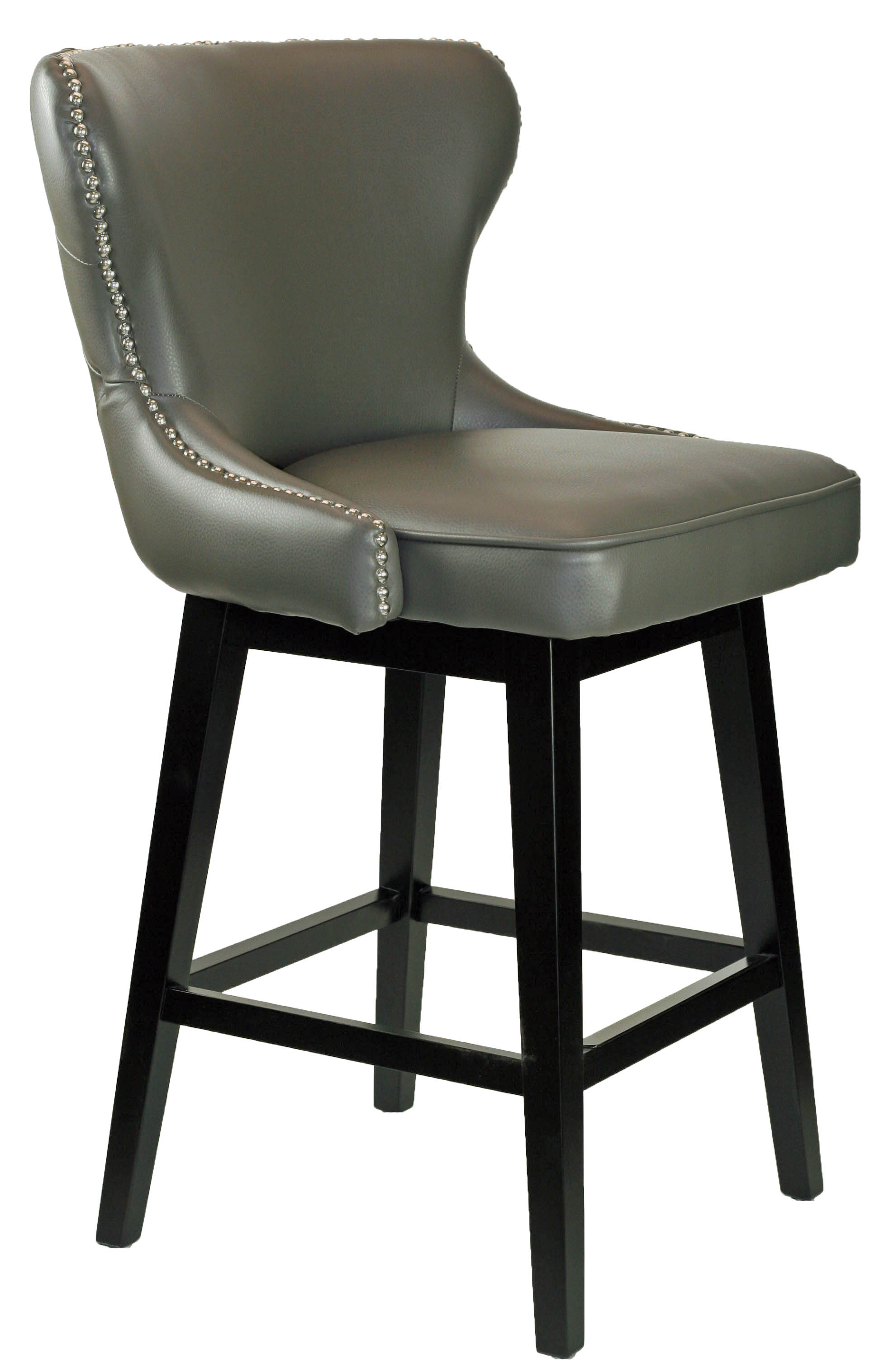R 8707 Grey Leather Swivel Counter Stool With Chrome Nailheads