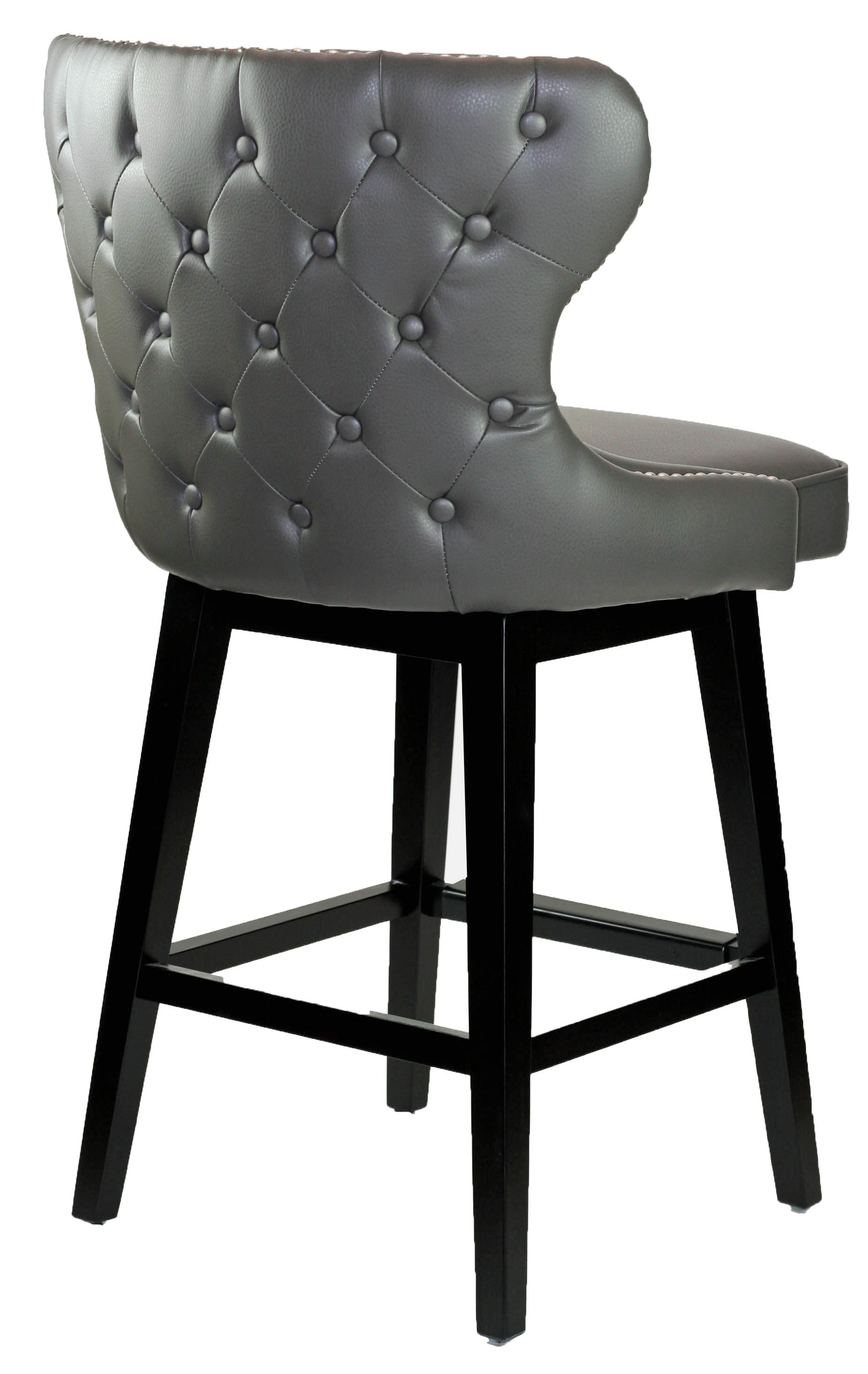 Grey Leather Swivel Counter Stool With Chrome Nailheads