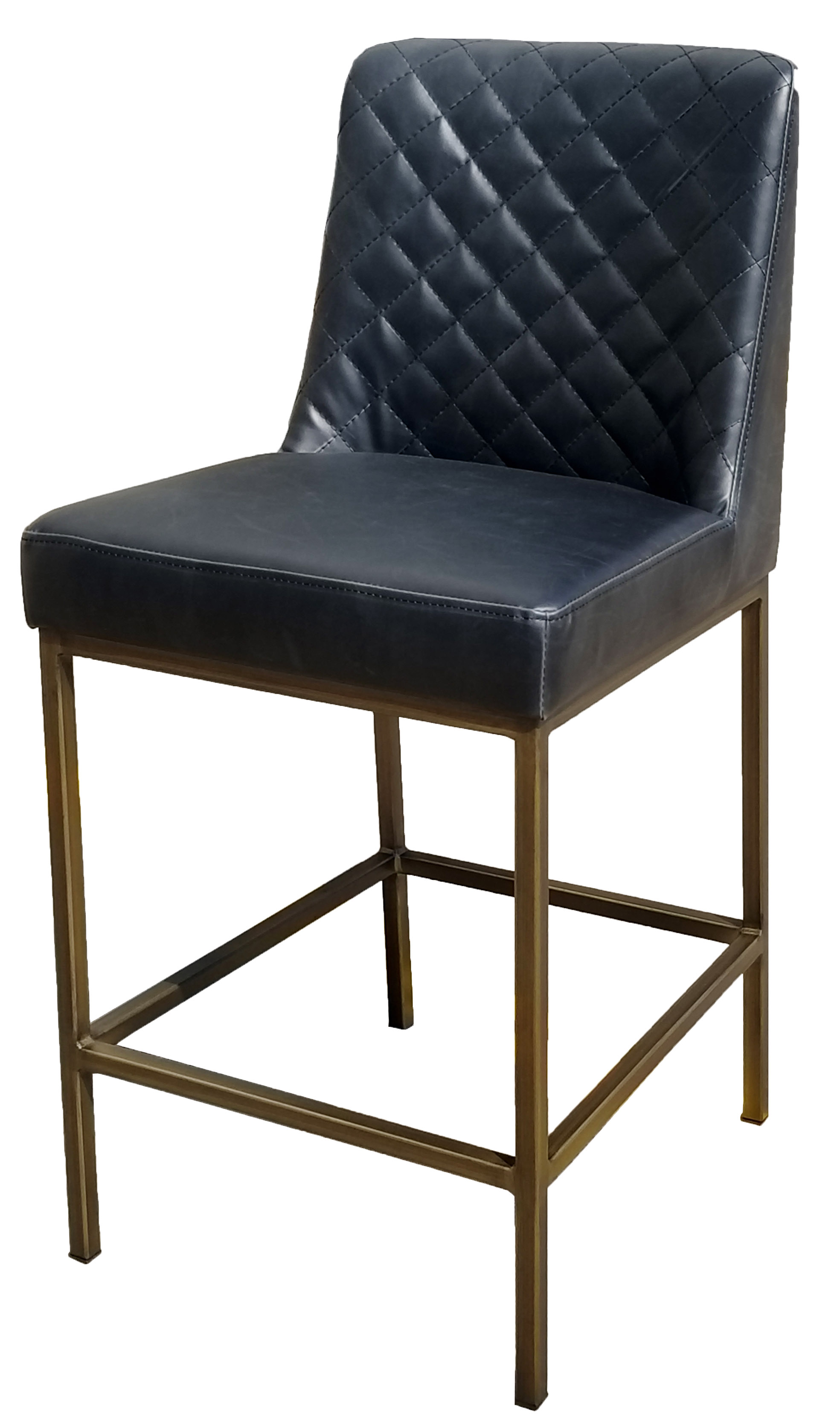 Clearance Black Leather Counter Stool With Bronze Steel
