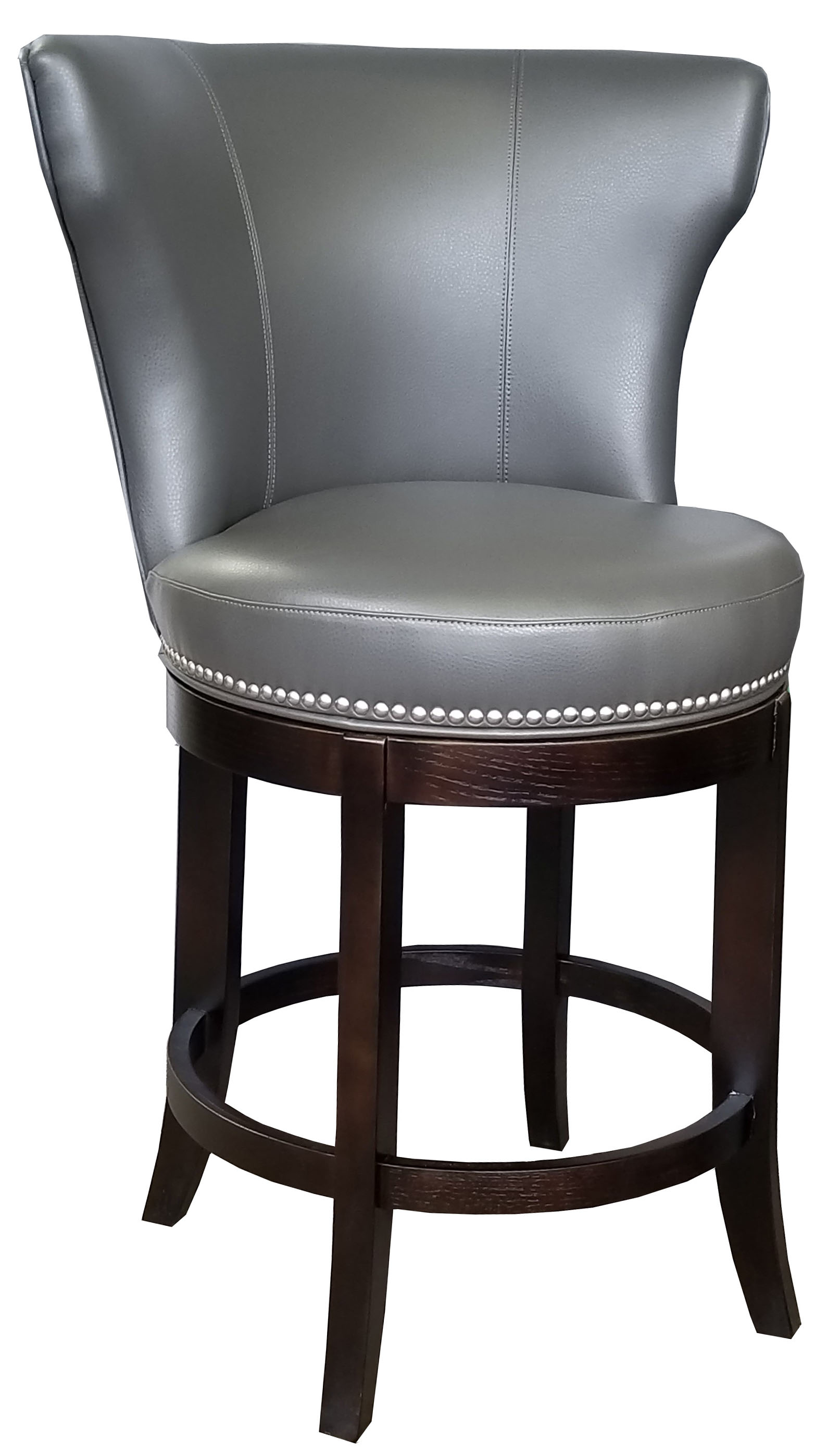 Clearance Grey Swivel Leather Counter Stool W Brushed