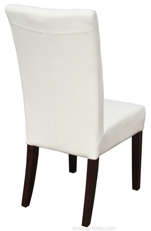 Genuine Top Grain Leather Dining Chair in Off White R-131
