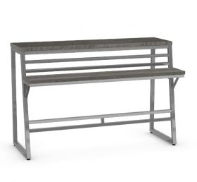 AC-50464 Stone Dust Console Table With Magnette Metal Finish