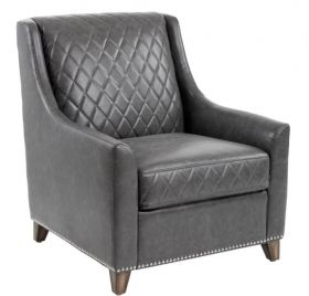 SR-100365 Classic Grey Quilted Design Armchair