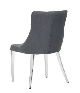 SR-101638 Grey Tapered Seat Back Dining Chair with Button Tufting - Dark Grey