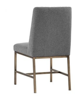 SR-102249 Leather Grey Dining Chair w/ Antique Brass