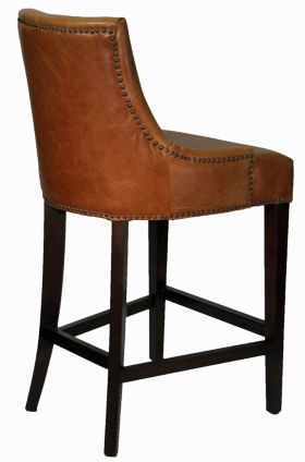 Clearance Antique Brown Top Grain Leather Counter Stool