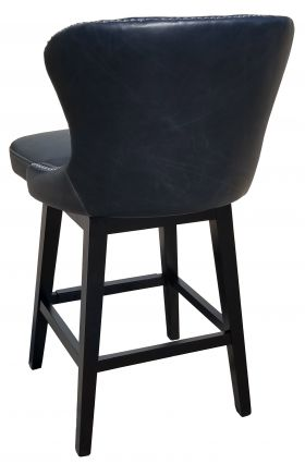 R-12771 Tufted swivel Barstool in Grey with Antique Brass Nail Head Trim