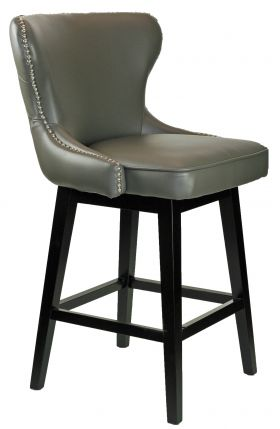 R-8707 Grey Leather Swivel Counter Stool With Chrome Nailheads