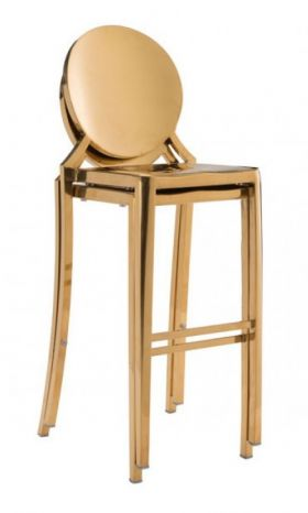 Modern Furniture Stools Round Back In Gold Polished