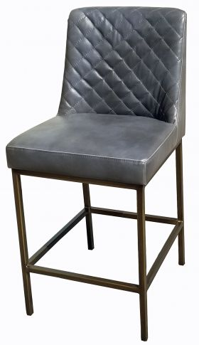 R-1370 Grey Leather Bar Counter Stool with Bronze Steel Frame